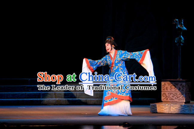 Chinese Han Dynasty Blue Princess Opera Clothing Costumes Dresses Clothing Clothes Garment Outfits Suits Complete Set for Women