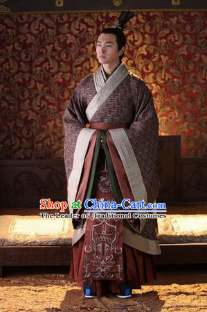 Chinese Han Dynasty Prince Clothing Costumes Dresses Clothing Clothes Garment Outfits Suits Complete Set for Men