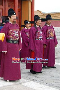 Ming Dynasty Official Statesman Officer Chancellor Costumes Dresses Clothing Clothes Garment Outfits Suits Complete Set for Men