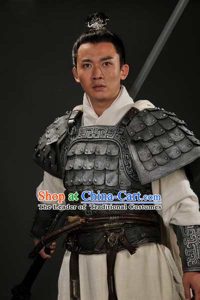 Chinese Han Dynasty Distinguished Military General Huo Qubing Costumes Dresses Clothing Clothes Garment Outfits Suits Complete Set for Men