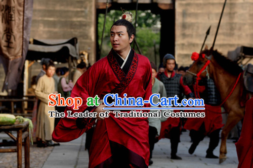 Chinese Han Dynasty Scholar-official Fangshi Author Court Jester Dongfang Shuo Costumes Dresses Clothing Clothes Garment Outfits Suits Complete Set for Men