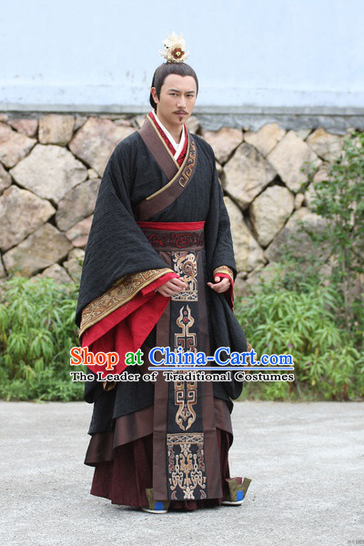 Chinese Emperor Wen of Han Costumes Dresses Clothing Clothes Garment Outfits Suits Complete Set for Men
