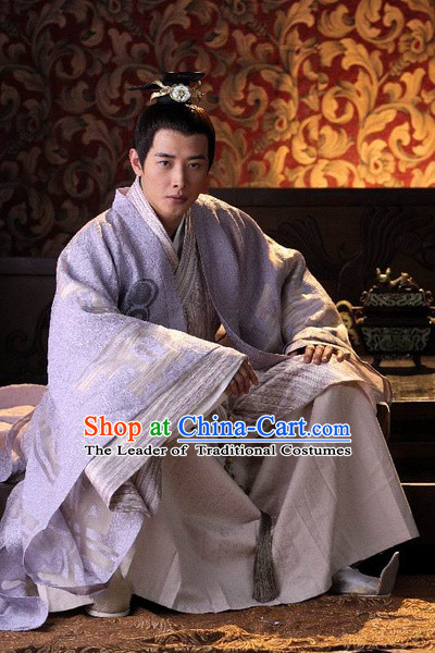 Chinese Han Dynasty Prince Costumes Dresses Clothing Clothes Garment Outfits Suits Complete Set for Men