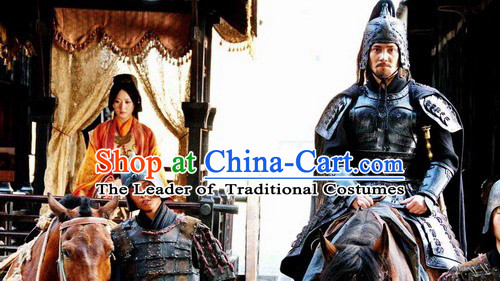 Chinese Qin Dynasty Zhao Gao Politician Armor Costumes Dresses Clothing Clothes Garment Outfits Suits Complete Set for Men
