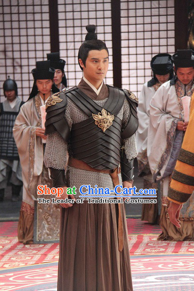 Chinese Qin Dynasty Knight Swordsman Superhero General Costumes General Costume Dresses Clothing Clothes Garment Outfits Suits Complete Set for Men