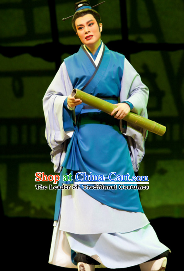 Chinese Qin Dynasty Scholar Poet Painter Costume Dresses Clothing Clothes Garment Outfits Suits Complete Set for Men
