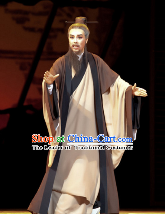 Chinese Qin Dynasty Scholar Poet Painter Teacher Costume Dresses Clothing Clothes Garment Outfits Suits Complete Set for Men