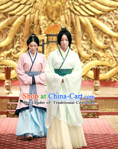 Chinese Han Dynasty Wei Zi Fu Empress Costume Dresses Clothing Clothes Garment Outfits Suits Complete Set for Women
