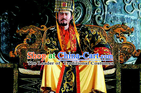 Chinese Qin Dynasty Emperor Shi Huang Costumes Dresses Clothing Clothes Garment Outfits Suits Complete Set