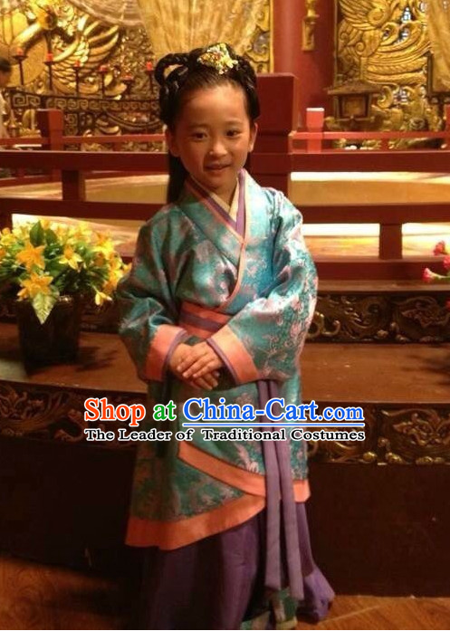 Chinese Han Dynasty Princess Dress Costume Dresses Clothing Clothes Garment Outfits Suits Complete Set for Kids