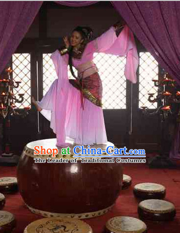 Chinese Han Dynasty Beauty Zhao Feiyan Classic Dance Costume Dresses Clothing Clothes Garment Outfits Suits Complete Set for Women