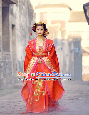Chinese Tang Dynasty Beauty Wedding Dress Classic Costume Dresses Clothing Clothes Garment Outfits Suits and Hair Jewelry Complete Set for Women