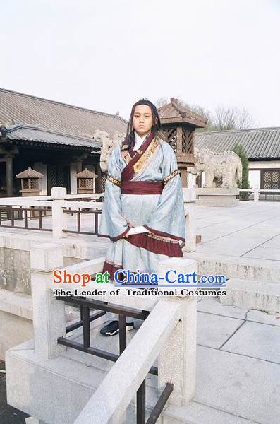 Chinese Qin Dynasty Prince Costume Dresses Clothing Clothes Garment Outfits Suits and Hair Jewelry Complete Set for Boys