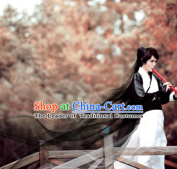 Chinese Qin Dynasty Cosplay Fighter Costume Dresses Clothing Clothes Garment Outfits Suits and Hair Jewelry Complete Set for Men