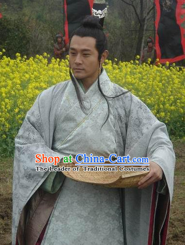 Chinese Qin Dynasty Clothes Costume Dresses Clothing Clothes Garment Outfits Suits Complete Set for Men