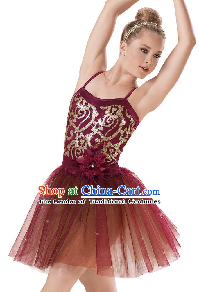 Modern Dancing Women Ballet Costume Dance Costumes Dancewear Brown Tutu