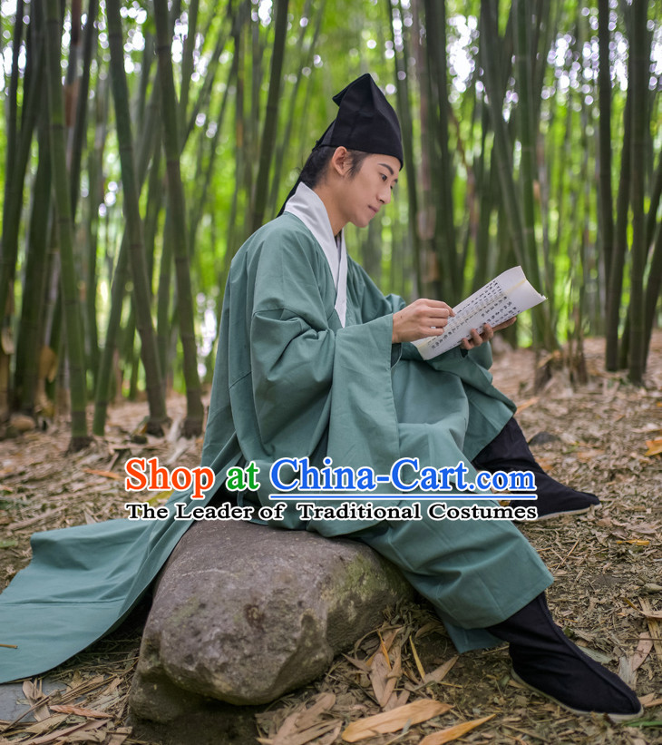 Chinese Traditional Ming Dynasty Student Costumes and Hat Complete Set for Men
