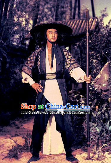 Chinese Shaw Brothers Movie Kung Fu Suit and Bamboo Hat Complete Set for Men
