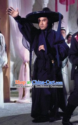 Chinese Shaw Brothers Gongfu Suits and Bamboo Hat Complete Set for Men