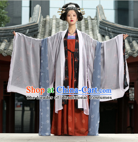 Tang Dynasty Ancient Chinese People Suits and Headpieces Complete Set for Women
