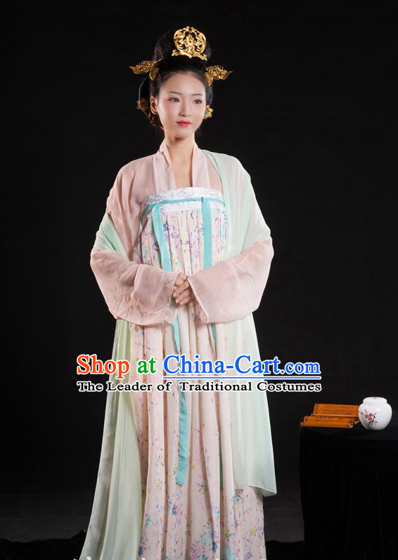 Chinese Ancient Garment Suit and Hair Jewelry Complete Set for Women