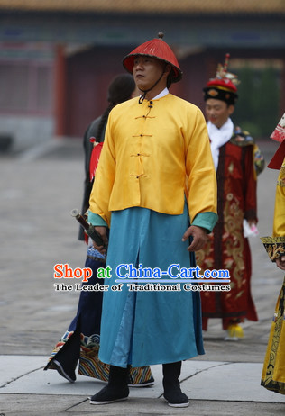Qing Dynasty Imperial Guard Costume and Hat Complete Set for Men
