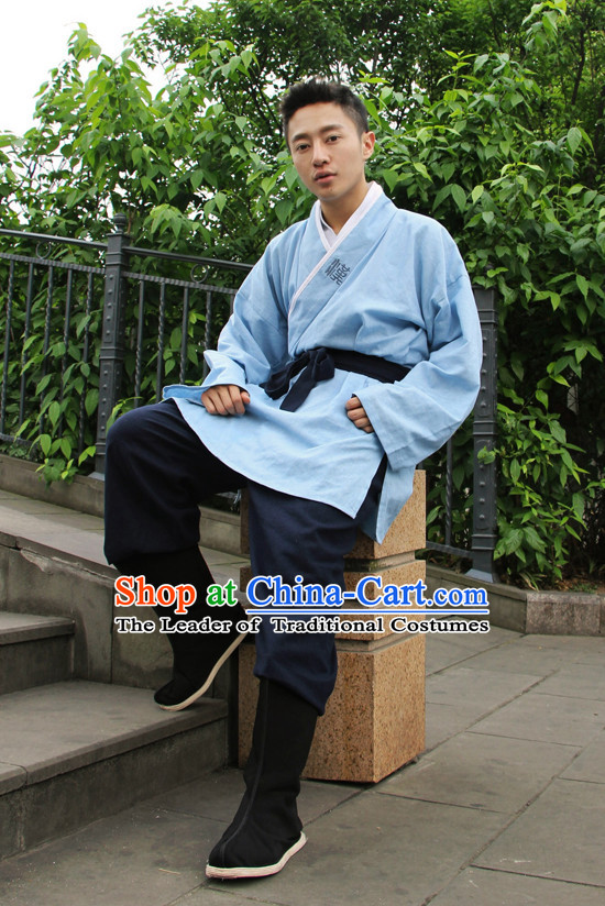 Chinese Costume Chinese Costumes Hanfu Han Dynasty Ancient China Scholar Clothing Dress Garment Suits Clothes Complete Set for Men
