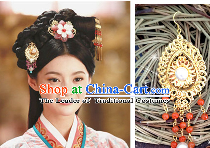 Chinese Princess Black Long Wigs and Headwear Headpieces Hair Jewelry Headdress for Women