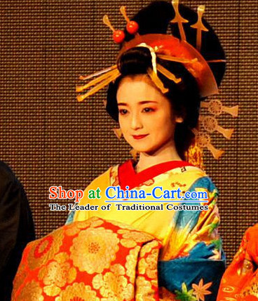 Japanese Geisha Hair Jewelry Headdress Hair Accessories and Black Wigs