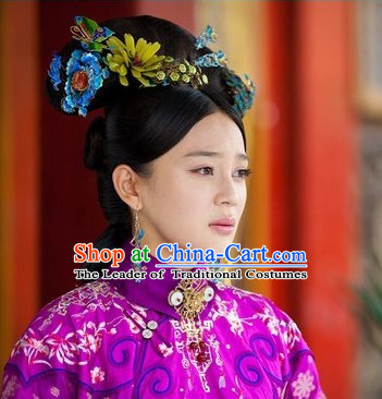 Chinese Qing Dynasty Imperial Princess Queen Headwear Headdress Hair Jewelry Headpieces