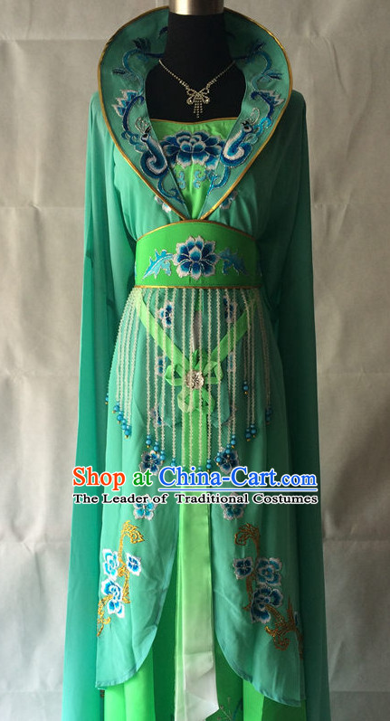 Green High Collar Chinese Opera Empress Wear Costume Traditions Culture Dress Kimono Chinese Beijing Clothing for Women