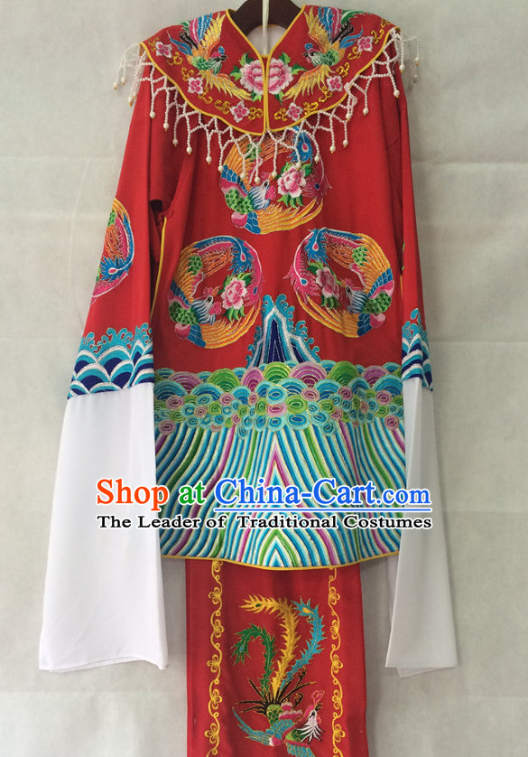 Chinese Opera Brides Phoenix Embroidered Wedding Costumes Complete Set