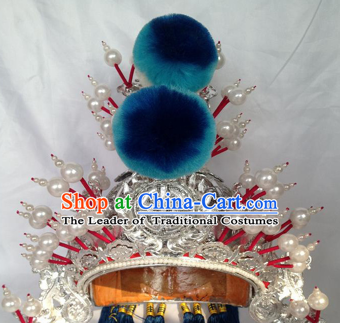 Chinese Opera Military General Wusheng Headwear Headdress Hat Crown Headpieces