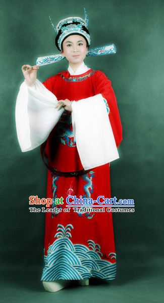 Chinese Opera Classic Water Sleeve Long Sleeves Official Costume Dress Wear Outfits Suits for Men