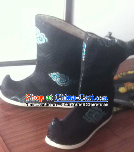 Traditional Asian Black Long Boots with Clouds