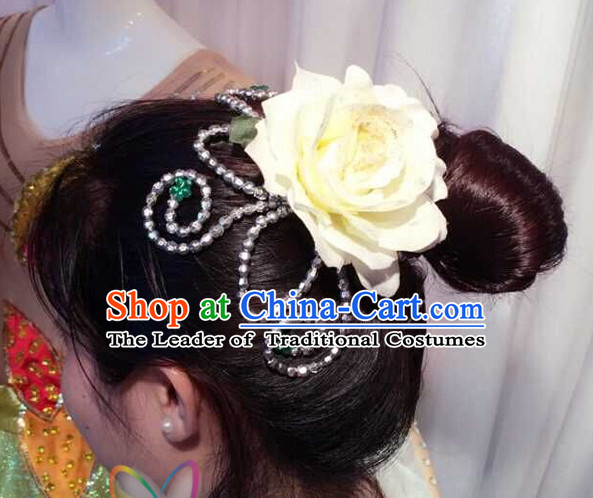 Chinese Dance Apparel Flower Headwear Folk Dancing Headdress Headpieces Hair Accessories