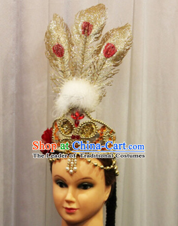 Chinese Xinjiang Dance Apparel Flower Headwear Folk Dancing Headdress Headpieces Hair Accessories