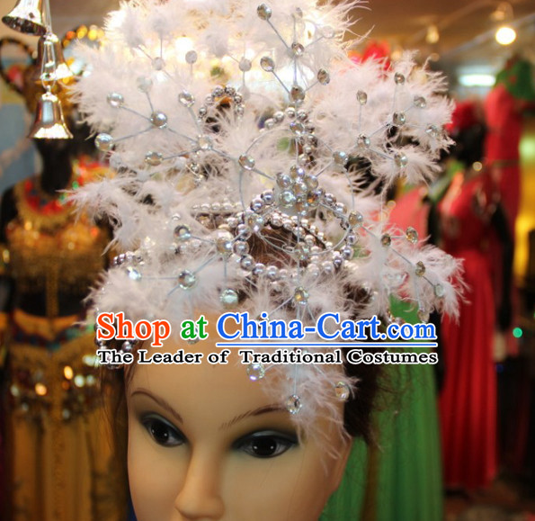 Chinese Stage Performance Classic Dance Apparel Feather Folk Dancing Headdress Headpieces Hair Accessories