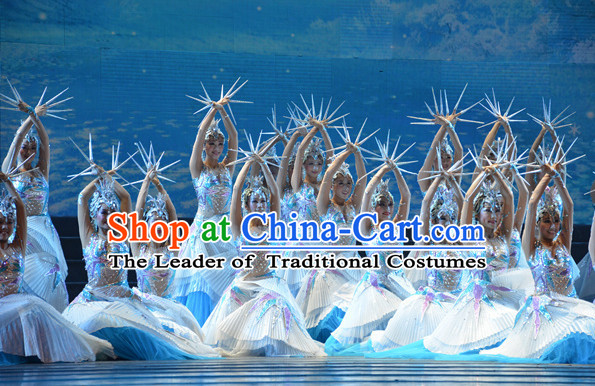 Chinese Folk Winter Queen Stage Dance Costumes and Hair Accessories