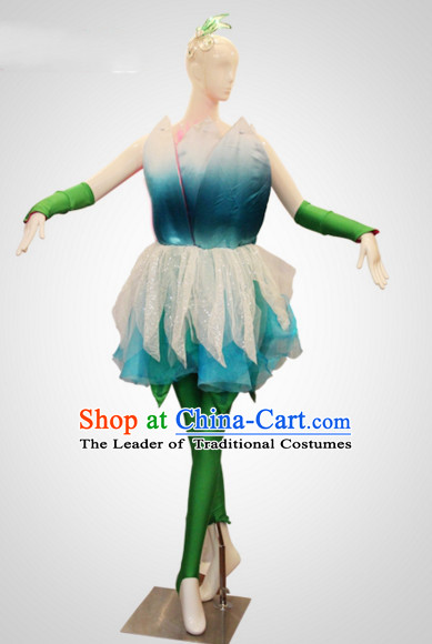 Chinese Folk Leaf Dance Costumes and Flower Headdress Props for Women