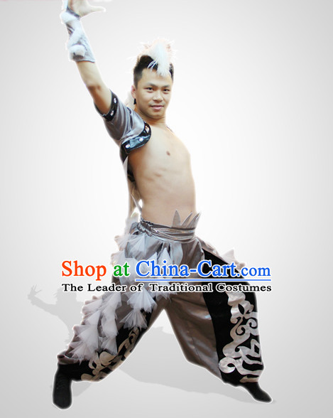 Chinese Folk Eagle Dance Costumes and Flower Headdress Props for Men