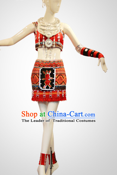Chinese Folk Miao Dance Costumes Complete Set for Women