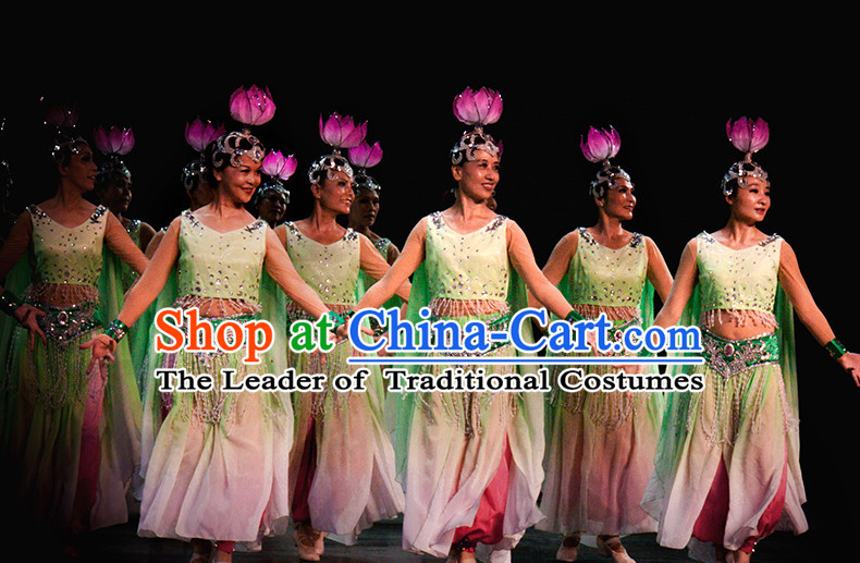 Chinese Folk Classic Lantern Dance Costumes Complete Set for Women