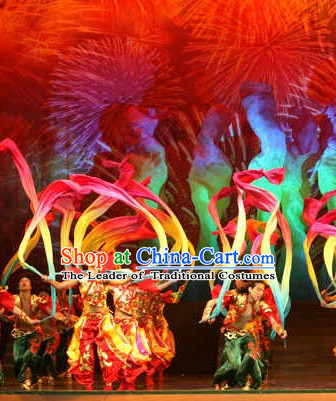 Chinese Folk Classic Long Ribbon Dance Costumes and Headwear Complete Set for Men and Women