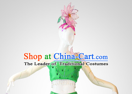 Chinese Stage Performance Classic Lotuss Dance Apparel Folk Dancing Headdress Headpieces Hair Accessories