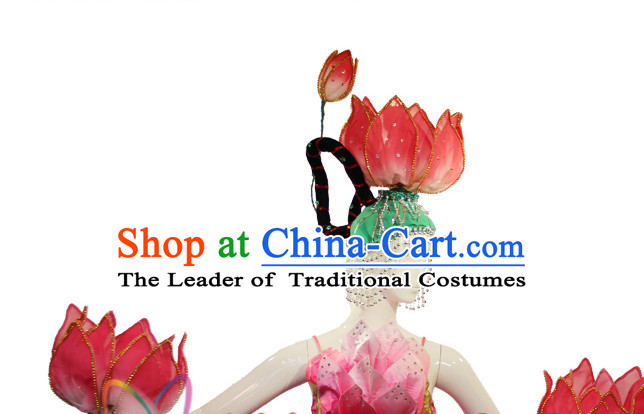 Chinese Stage Performance Classic Lotus Dance Apparel Folk Dancing Headdress Headpieces Hair Accessories