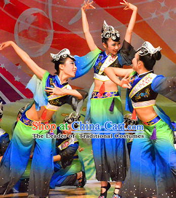 Chinese Folk Dance Costumes and Headwear Complete Set for Women