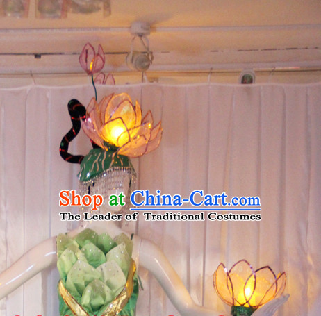 LED Lights Chinese Classic Folk Lotus Flower Dance Costumes and Headwear Complete Set for Women