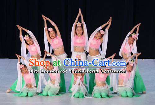 Chinese Classical Dance Costumes and Headwear Complete Set for Women or Kids