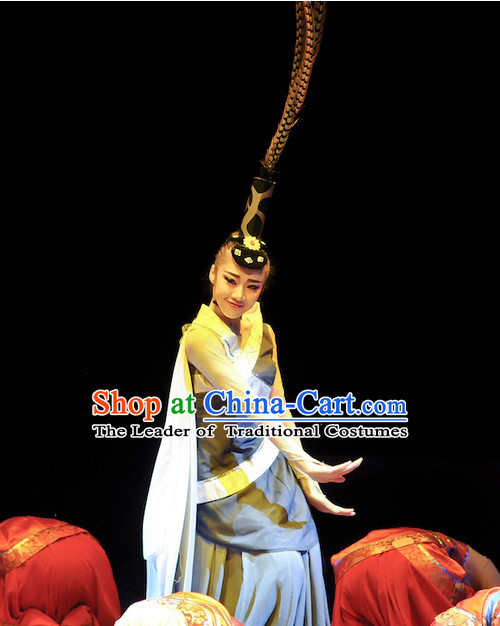 Chinese Classical Dance Costumes and Long Feathers Headwear Complete Set for Women
